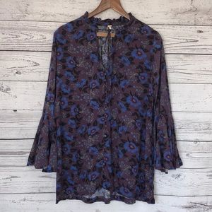 Free People Purple Blue Floral Blouse Size Medium
